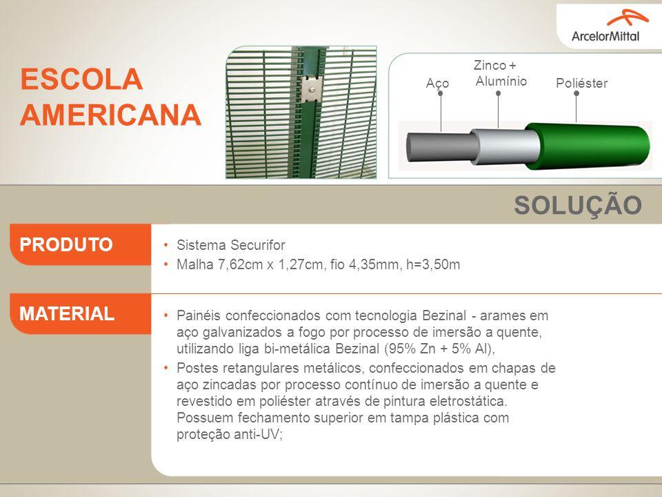 Sistema Securifor Malha 7,62cm x 1,27cm, fio 4,35mm, h=3,50m Painéis confeccionados com tecnologia Bezinal - arames em aço galvanizados a fogo por pro