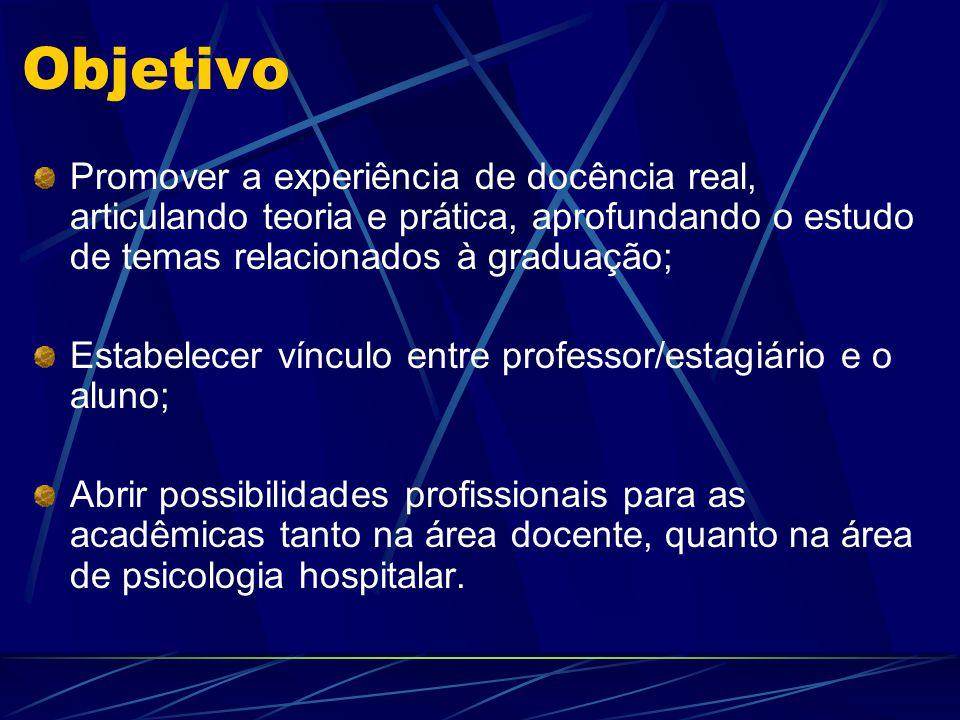 Objetivo Promover a experiência de docência real, articulando teoria e prática, aprofundando o estudo de temas relacionados à graduação; Estabelecer v