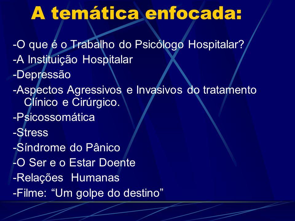 A temática enfocada: -O que é o Trabalho do Psicólogo Hospitalar? -A Instituição Hospitalar -Depressão -Aspectos Agressivos e Invasivos do tratamento