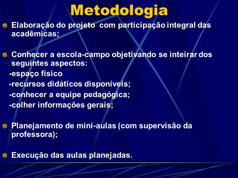 Metodologia Elaboração do projeto com participação integral das acadêmicas; Conhecer a escola-campo objetivando se inteirar dos seguintes aspectos: -e