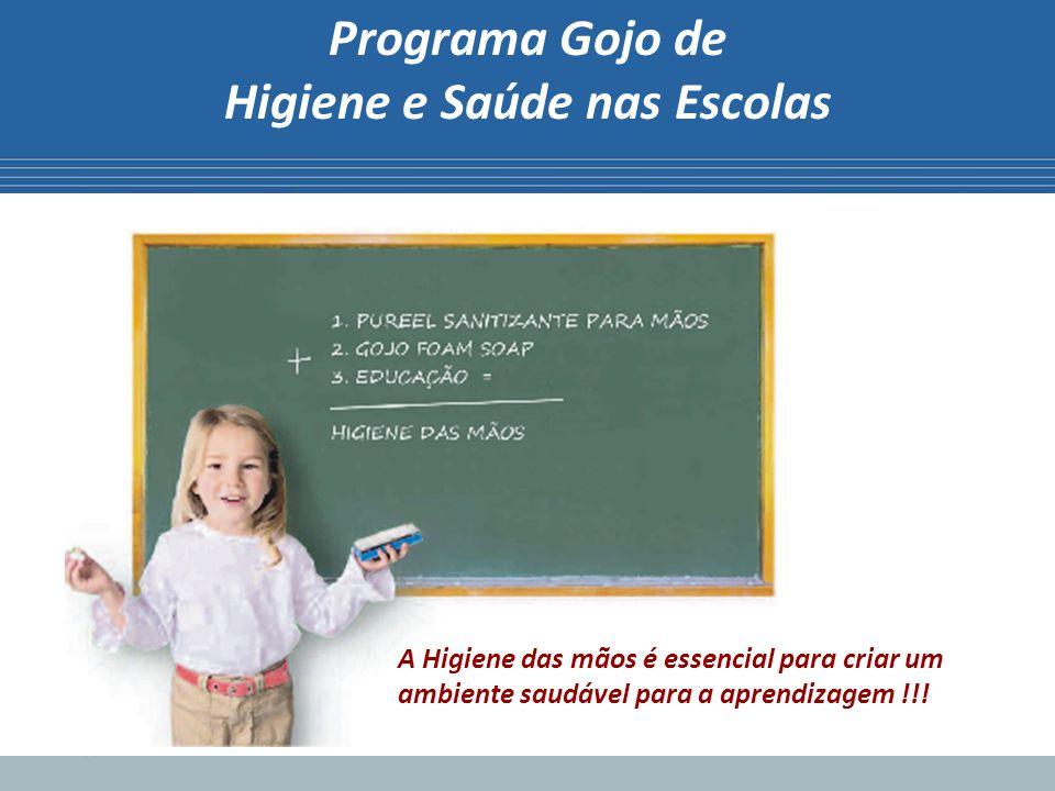 Programa Gojo de Higiene e Saúde nas Escolas Principais motivos para implantar o Programa: O Absenteísmo rouba tempo dos estudantes.
