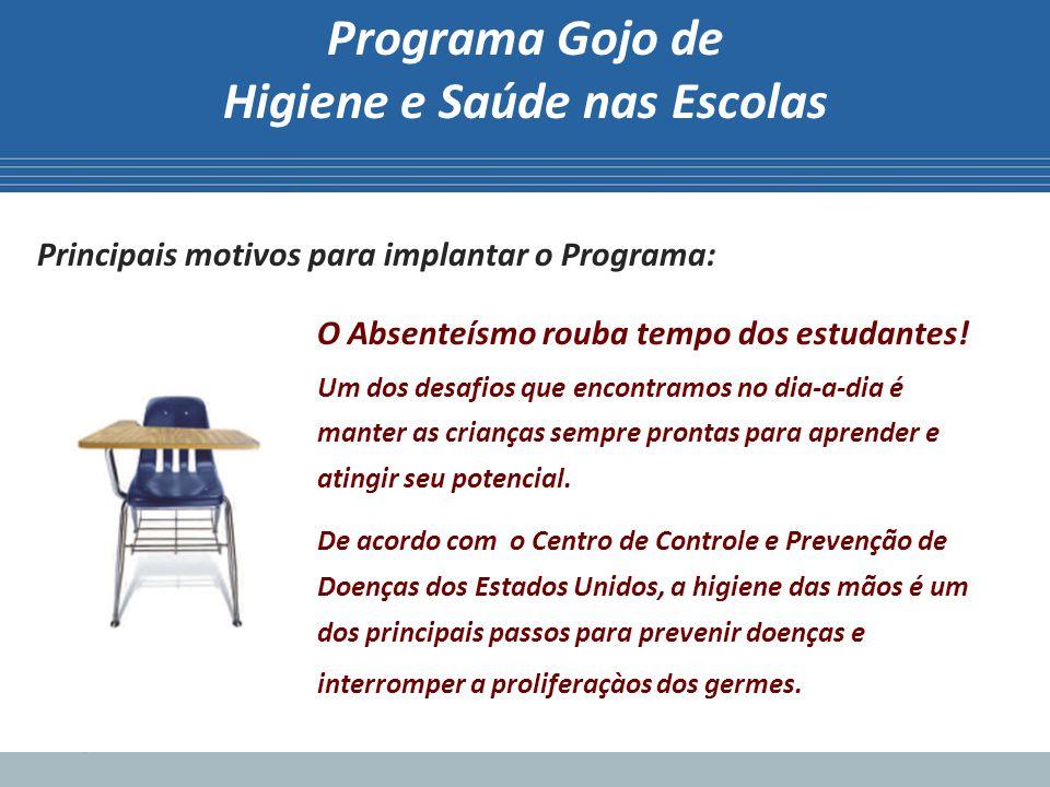 Programa Gojo de Higiene e Saúde nas Escolas Principais motivos para implantar o Programa: O Absenteísmo rouba tempo dos estudantes! Um dos desafios q