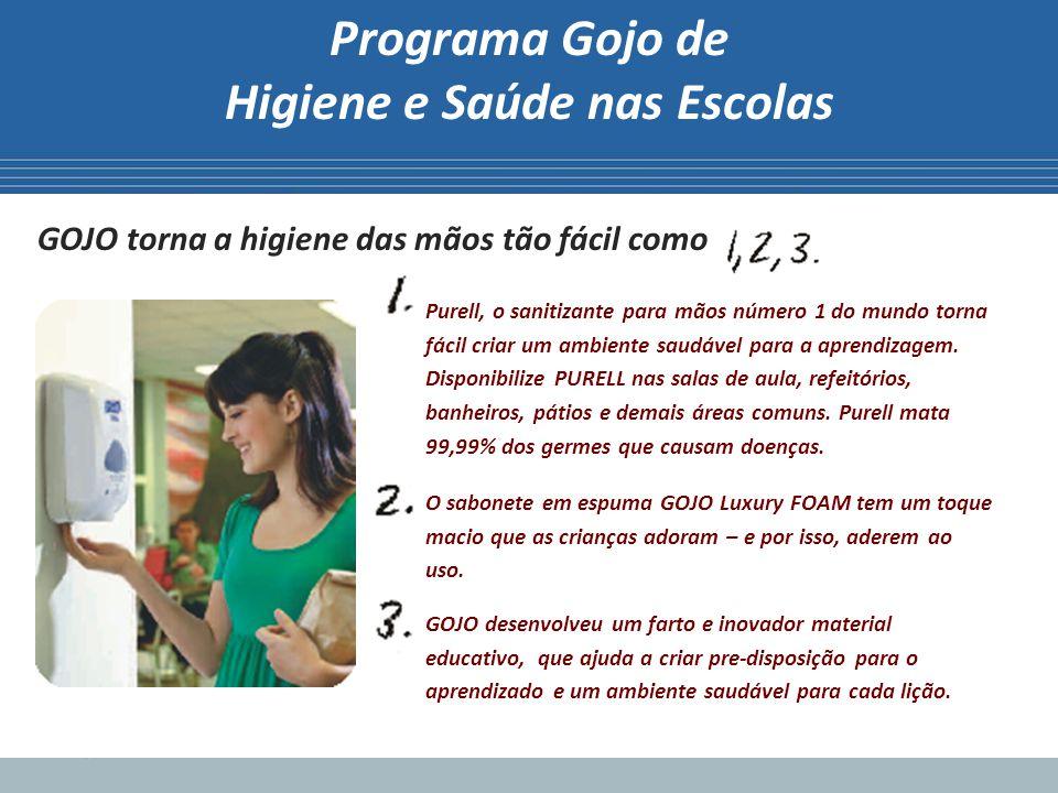 Programa Gojo de Higiene e Saúde nas Escolas GOJO torna a higiene das mãos tão fácil como Purell, o sanitizante para mãos número 1 do mundo torna fáci
