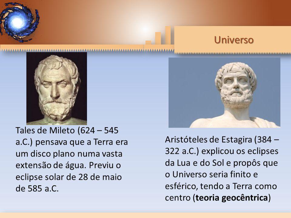 Universo Tales de Mileto (624 – 545 a.C.) pensava que a Terra era um disco plano numa vasta extensão de água.