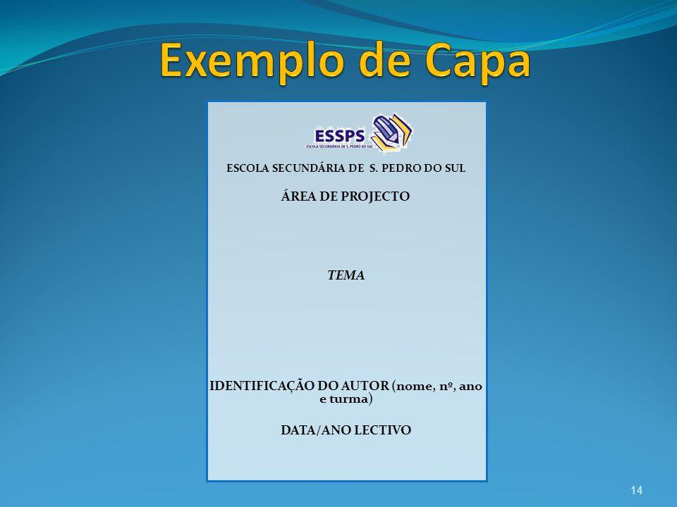ESCOLA SECUNDÁRIA DE S. PEDRO DO SUL ÁREA DE PROJECTO TEMA IDENTIFICAÇÃO DO AUTOR (nome, nº, ano e turma) DATA/ANO LECTIVO 14