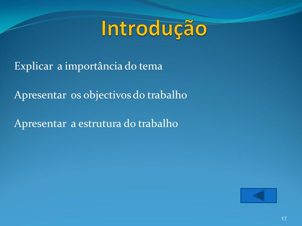 Explicar a importância do tema Apresentar os objectivos do trabalho Apresentar a estrutura do trabalho 17