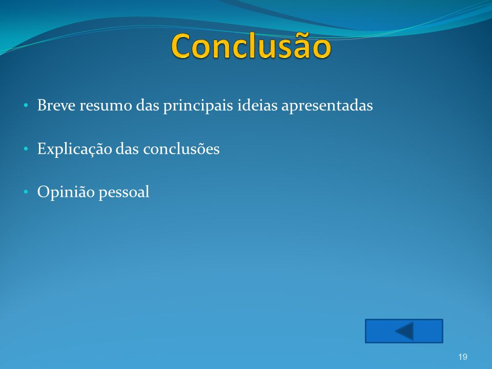 Breve resumo das principais ideias apresentadas Explicação das conclusões Opinião pessoal 19