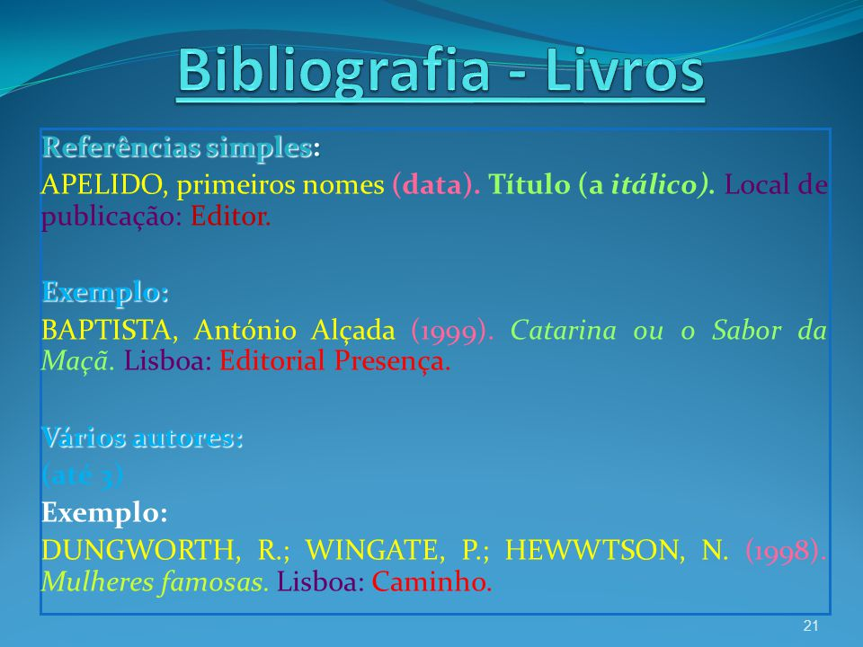 Referências simples: APELIDO, primeiros nomes (data). Título (a itálico). Local de publicação: Editor. Exemplo: BAPTISTA, António Alçada (1999). Catar