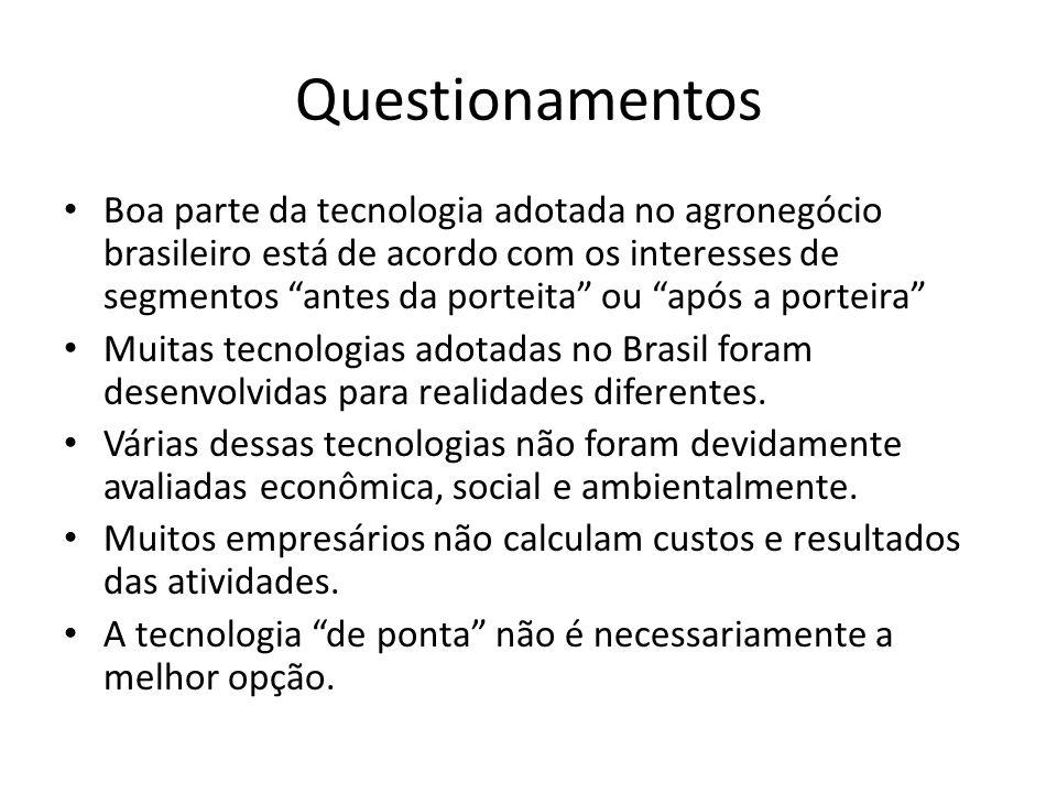 Questionamentos Boa parte da tecnologia adotada no agronegócio brasileiro está de acordo com os interesses de segmentos antes da porteita ou após a po