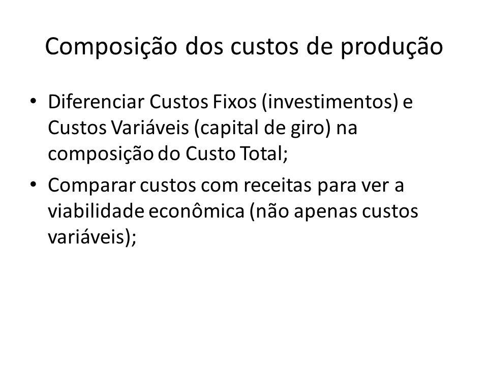 Composição dos custos de produção Diferenciar Custos Fixos (investimentos) e Custos Variáveis (capital de giro) na composição do Custo Total; Comparar