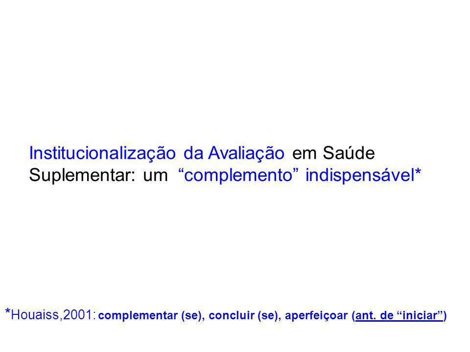 Institucionalização da Avaliação em Saúde Suplementar: um complemento indispensável* * Houaiss,2001: complementar (se), concluir (se), aperfeiçoar (ant.