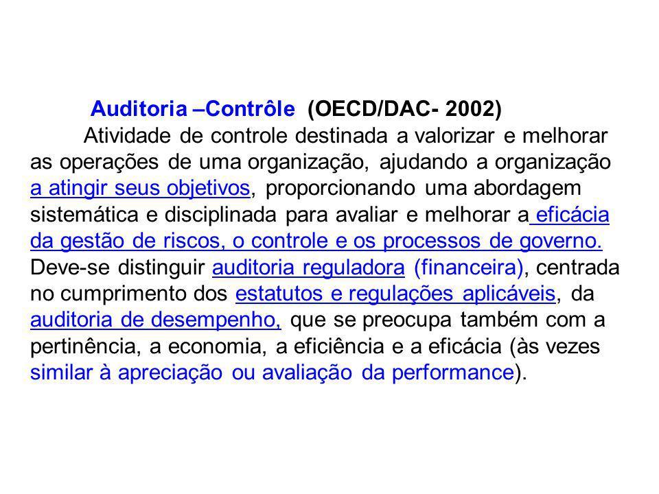 Auditoria –Contrôle (OECD/DAC- 2002) Atividade de controle destinada a valorizar e melhorar as operações de uma organização, ajudando a organização a atingir seus objetivos, proporcionando uma abordagem sistemática e disciplinada para avaliar e melhorar a eficácia da gestão de riscos, o controle e os processos de governo.