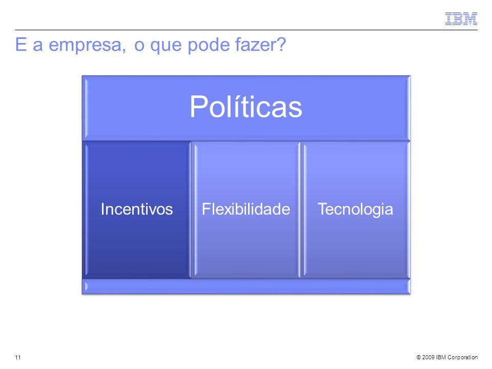 © 2009 IBM Corporation E a empresa, o que pode fazer? 11 Políticas IncentivosFlexibilidadeTecnologia