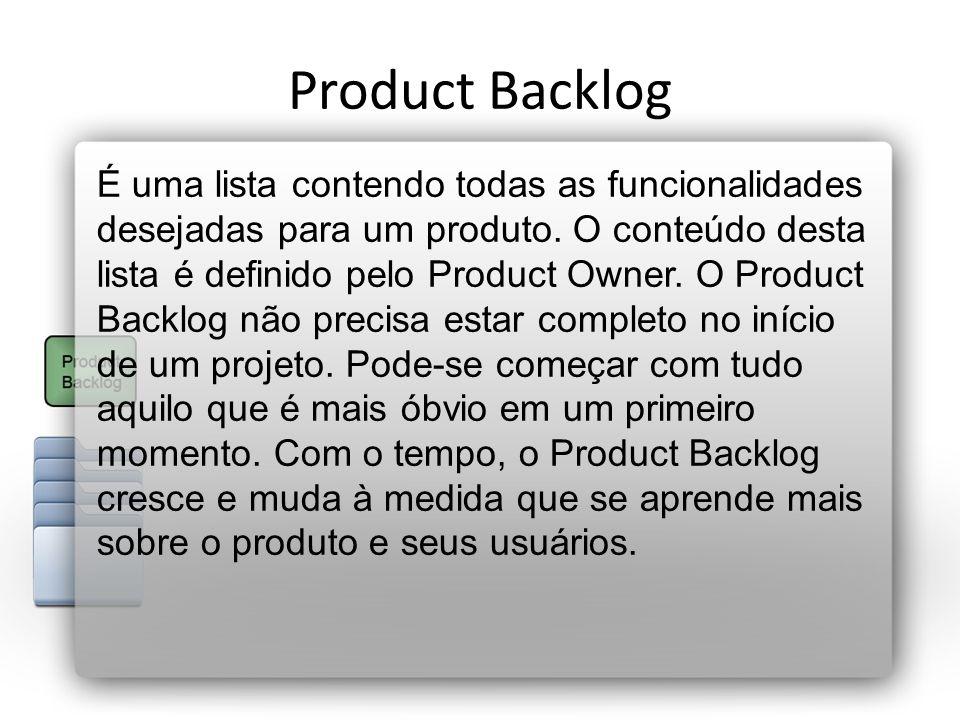 Product Backlog É uma lista contendo todas as funcionalidades desejadas para um produto. O conteúdo desta lista é definido pelo Product Owner. O Produ