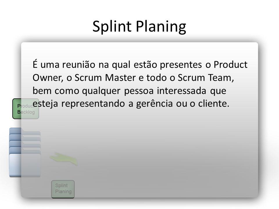 Splint Planing É uma reunião na qual estão presentes o Product Owner, o Scrum Master e todo o Scrum Team, bem como qualquer pessoa interessada que est