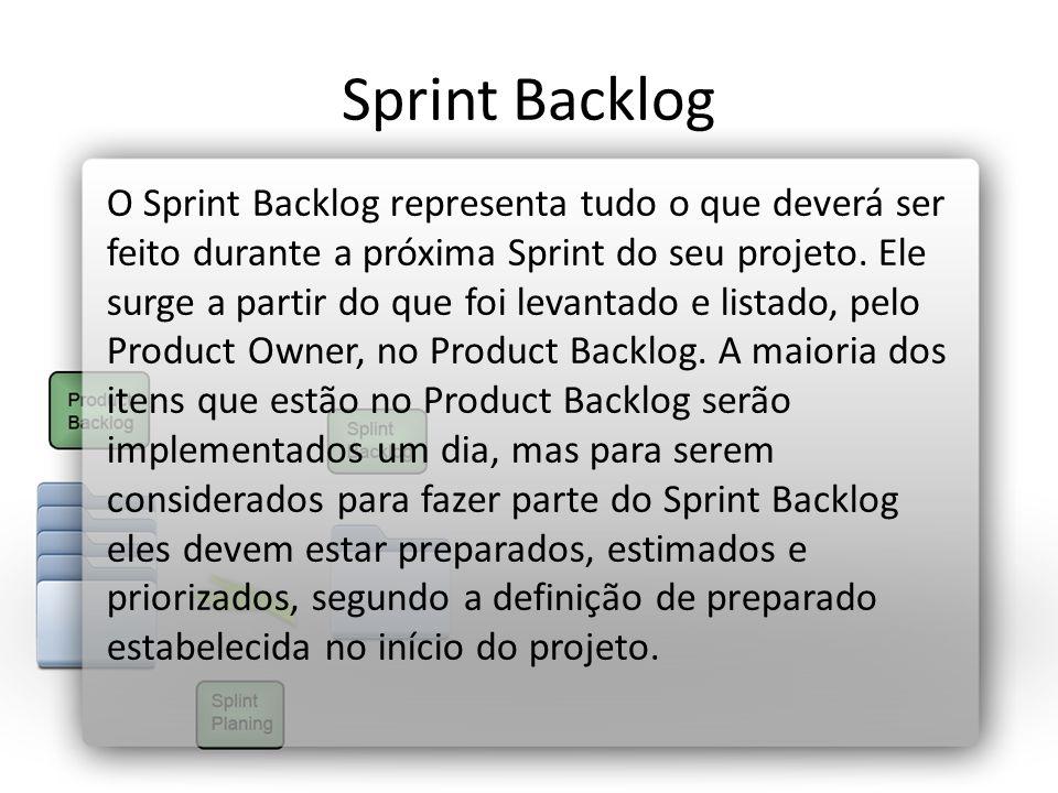 Sprint Backlog O Sprint Backlog representa tudo o que deverá ser feito durante a próxima Sprint do seu projeto. Ele surge a partir do que foi levantad