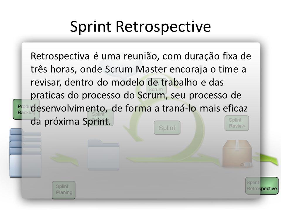 Sprint Retrospective Retrospectiva é uma reunião, com duração fixa de três horas, onde Scrum Master encoraja o time a revisar, dentro do modelo de tra