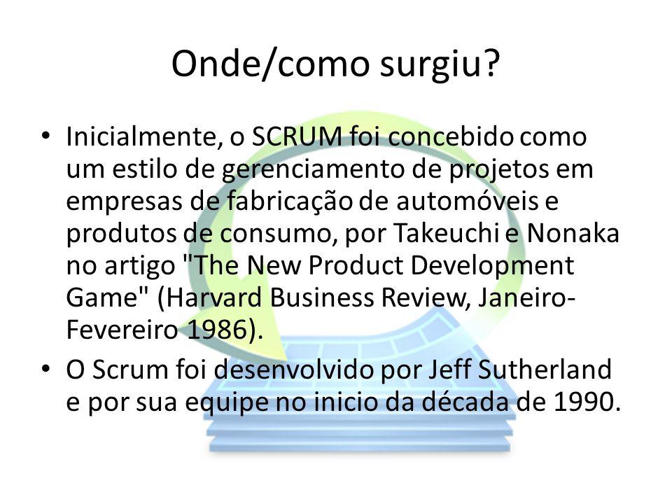 Onde/como surgiu? Inicialmente, o SCRUM foi concebido como um estilo de gerenciamento de projetos em empresas de fabricação de automóveis e produtos d