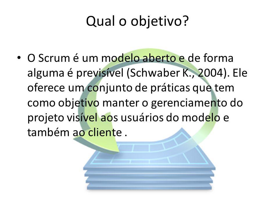 Qual o objetivo? O Scrum é um modelo aberto e de forma alguma é previsível (Schwaber K., 2004). Ele oferece um conjunto de práticas que tem como objet