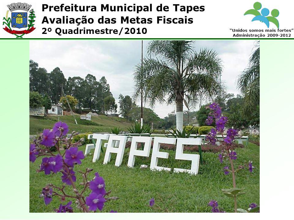 Prefeitura Municipal de Tapes Unidos somos mais fortes Administração 2009-2012 Avaliação das Metas Fiscais 2º Quadrimestre/2010