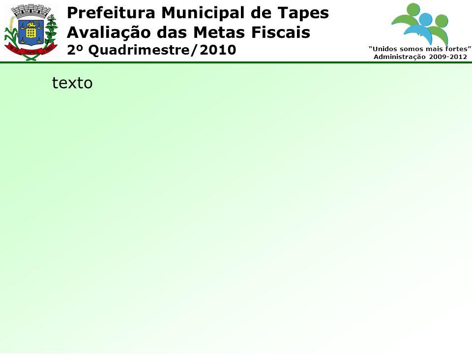 Prefeitura Municipal de Tapes Unidos somos mais fortes Administração 2009-2012 Avaliação das Metas Fiscais 2º Quadrimestre/2010 texto