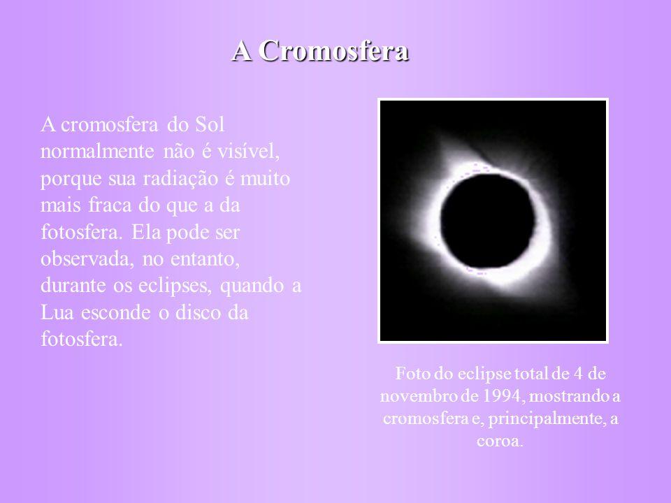 A Cromosfera A cromosfera do Sol normalmente não é visível, porque sua radiação é muito mais fraca do que a da fotosfera.