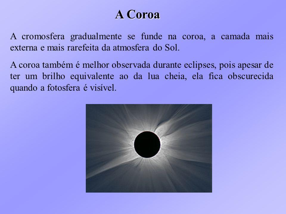 A Coroa A cromosfera gradualmente se funde na coroa, a camada mais externa e mais rarefeita da atmosfera do Sol.