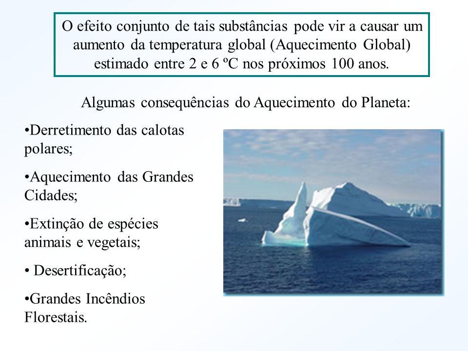 O efeito conjunto de tais substâncias pode vir a causar um aumento da temperatura global (Aquecimento Global) estimado entre 2 e 6 ºC nos próximos 100 anos.