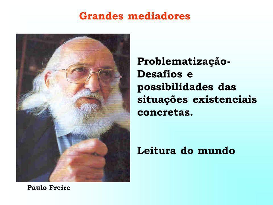 Paulo Freire Grandes mediadores Problematização- Desafios e possibilidades das situações existenciais concretas.