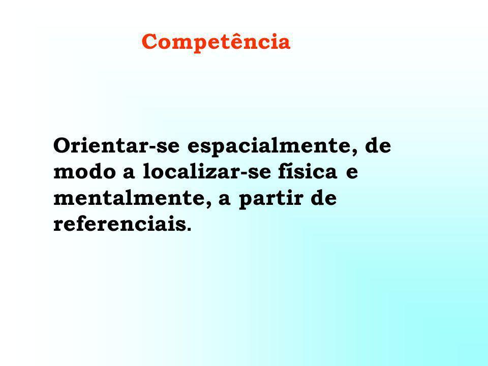 Competência Orientar-se espacialmente, de modo a localizar-se física e mentalmente, a partir de referenciais.