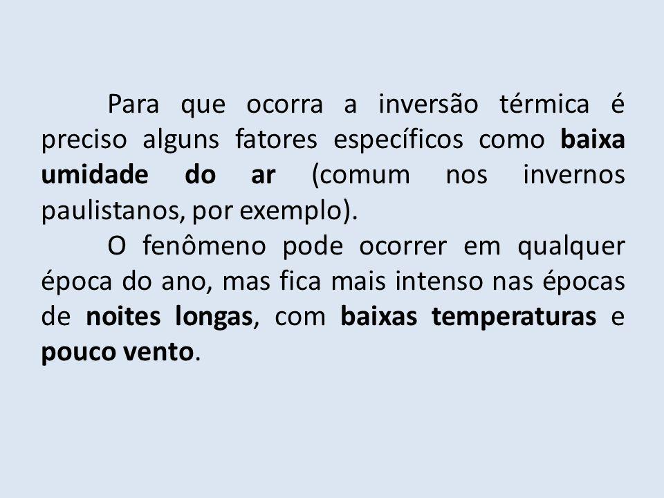 Para que ocorra a inversão térmica é preciso alguns fatores específicos como baixa umidade do ar (comum nos invernos paulistanos, por exemplo). O fenô