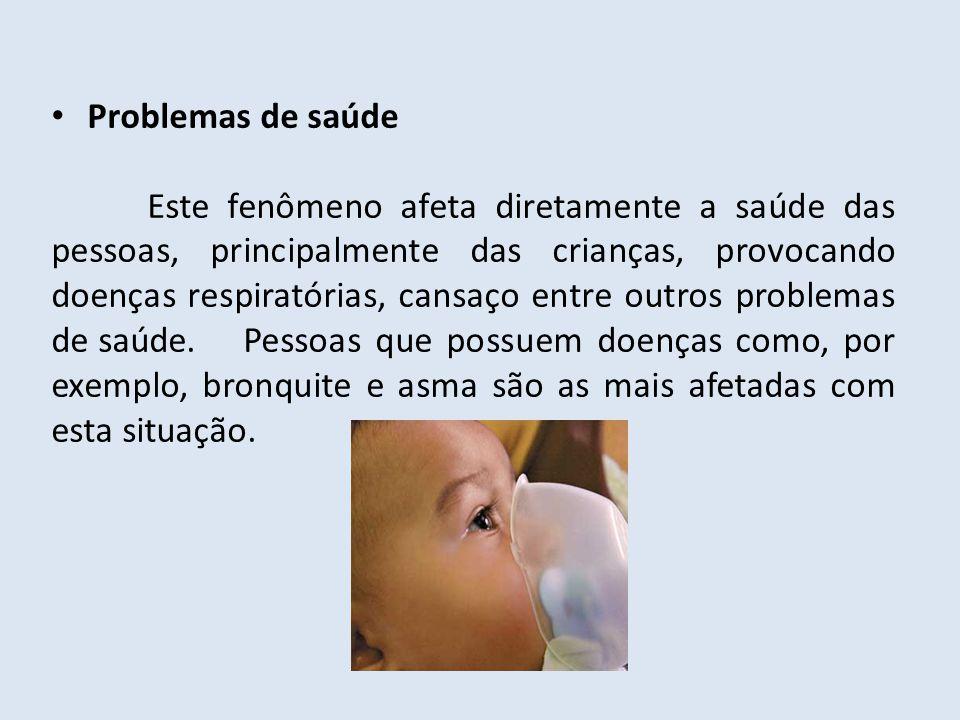 Problemas de saúde Este fenômeno afeta diretamente a saúde das pessoas, principalmente das crianças, provocando doenças respiratórias, cansaço entre o
