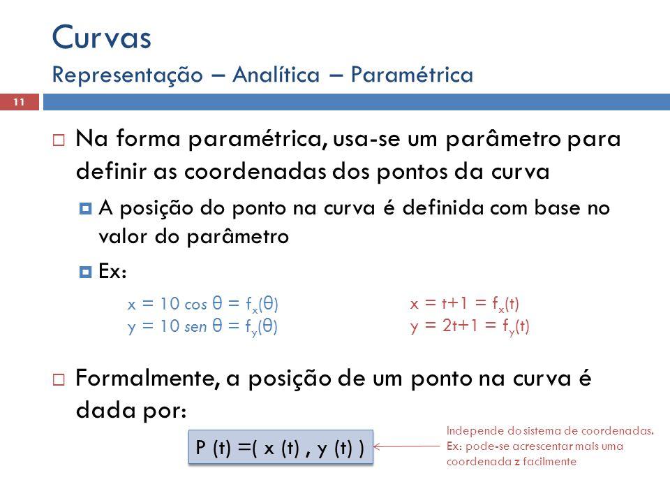 Na forma paramétrica, usa-se um parâmetro para definir as coordenadas dos pontos da curva A posição do ponto na curva é definida com base no valor do