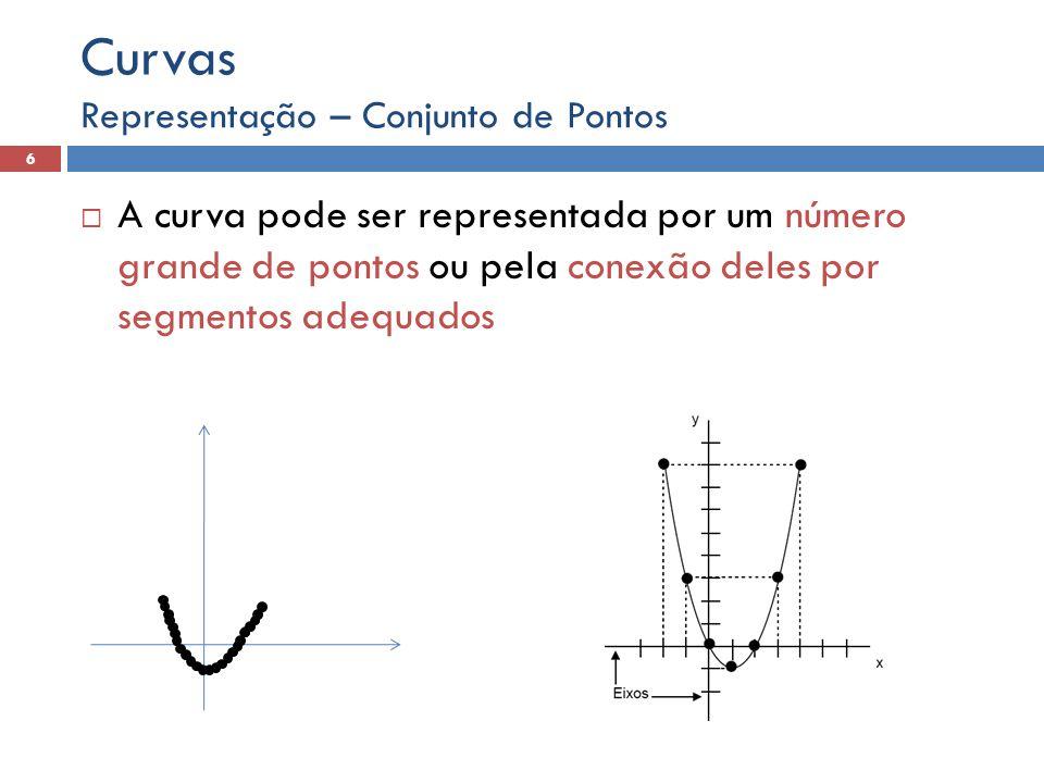 A curva pode ser representada por um número grande de pontos ou pela conexão deles por segmentos adequados Representação – Conjunto de Pontos 6 Curvas
