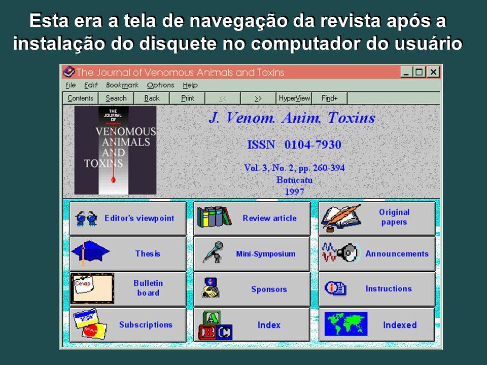 Esta era a tela de navegação da revista após a instalação do disquete no computador do usuário