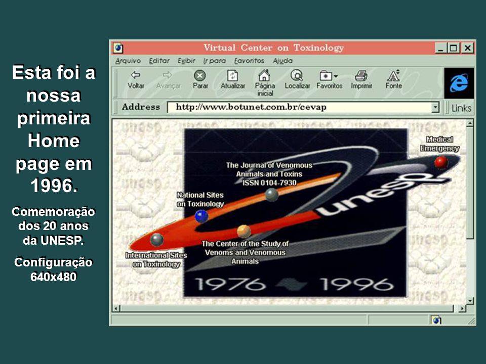Esta foi a nossa primeira Home page em 1996. Comemoração dos 20 anos da UNESP.