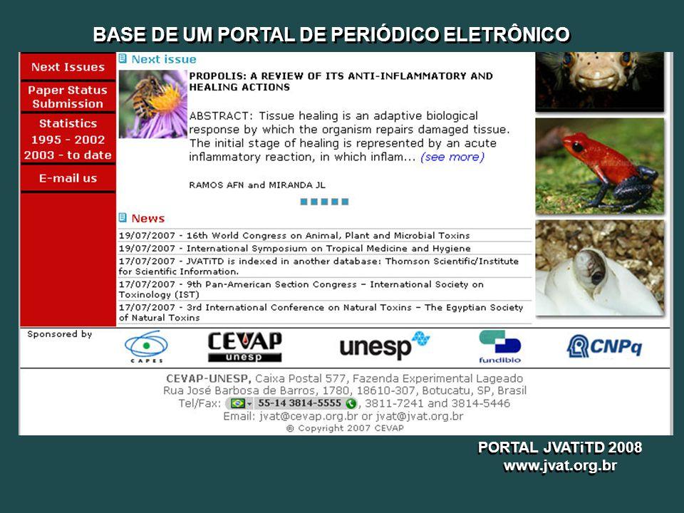 BASE DE UM PORTAL DE PERIÓDICO ELETRÔNICO PORTAL JVATiTD 2008 www.jvat.org.br PORTAL JVATiTD 2008 www.jvat.org.br
