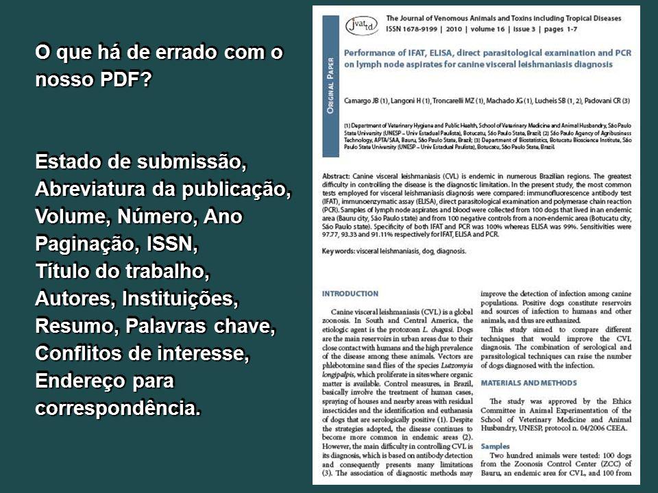 O que há de errado com o nosso PDF.