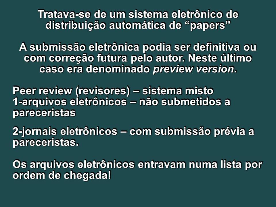 Tratava-se de um sistema eletrônico de distribuição automática de papers A submissão eletrônica podia ser definitiva ou com correção futura pelo autor.