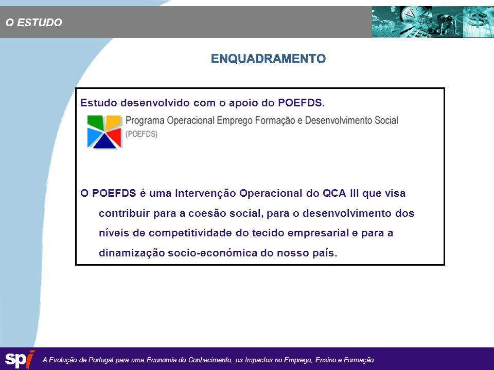 A Evolução de Portugal para uma Economia do Conhecimento, os Impactos no Emprego, Ensino e Formação 1,6/1,6 cm O ESTUDO Estudo desenvolvido com o apoio do POEFDS.