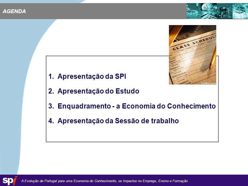 A Evolução de Portugal para uma Economia do Conhecimento, os Impactos no Emprego, Ensino e Formação 1,6/1,6 cm 1.Apresentação da SPI 2.Apresentação do Estudo 3.Enquadramento - a Economia do Conhecimento 4.Apresentação da Sessão de trabalho AGENDA