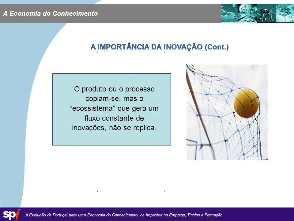 A Evolução de Portugal para uma Economia do Conhecimento, os Impactos no Emprego, Ensino e Formação 1,6/1,6 cm A Economia do Conhecimento A IMPORTÂNCIA DA INOVAÇÃO (Cont.) O produto ou o processo copiam-se, mas o ecossistema que gera um fluxo constante de inovações, não se replica.