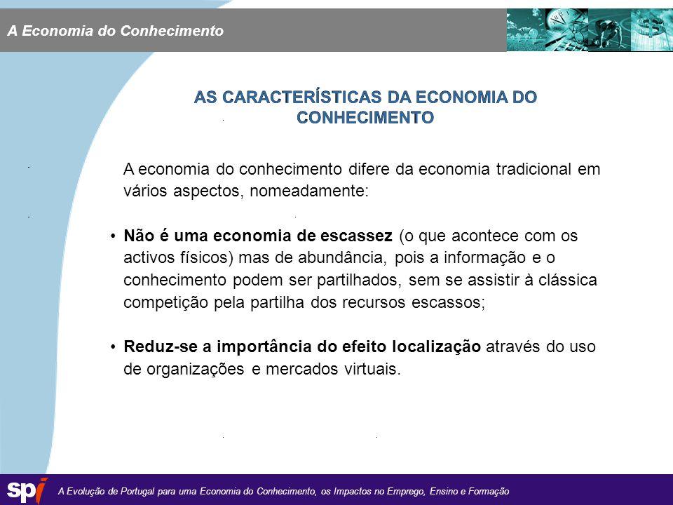 A Evolução de Portugal para uma Economia do Conhecimento, os Impactos no Emprego, Ensino e Formação 1,6/1,6 cm A Economia do Conhecimento AS CARACTERÍSTICAS DA ECONOMIA DO CONHECIMENTO A economia do conhecimento difere da economia tradicional em vários aspectos, nomeadamente: Não é uma economia de escassez (o que acontece com os activos físicos) mas de abundância, pois a informação e o conhecimento podem ser partilhados, sem se assistir à clássica competição pela partilha dos recursos escassos; Reduz-se a importância do efeito localização através do uso de organizações e mercados virtuais.
