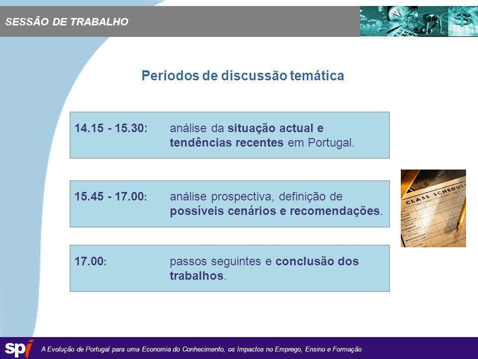 A Evolução de Portugal para uma Economia do Conhecimento, os Impactos no Emprego, Ensino e Formação 1,6/1,6 cm Períodos de discussão temática SESSÂO DE TRABALHO 14.15 - 15.30: análise da situação actual e tendências recentes em Portugal.