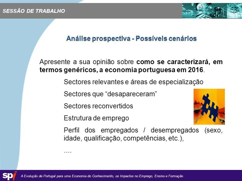 A Evolução de Portugal para uma Economia do Conhecimento, os Impactos no Emprego, Ensino e Formação 1,6/1,6 cm Apresente a sua opinião sobre como se caracterizará, em termos genéricos, a economia portuguesa em 2016.