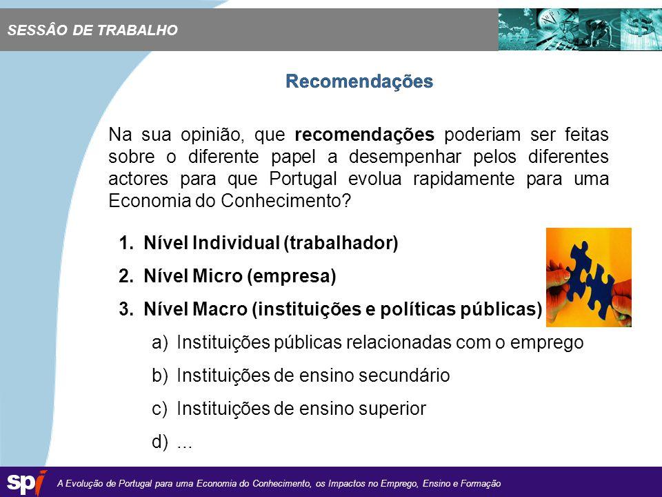 A Evolução de Portugal para uma Economia do Conhecimento, os Impactos no Emprego, Ensino e Formação 1,6/1,6 cm Na sua opinião, que recomendações poderiam ser feitas sobre o diferente papel a desempenhar pelos diferentes actores para que Portugal evolua rapidamente para uma Economia do Conhecimento.