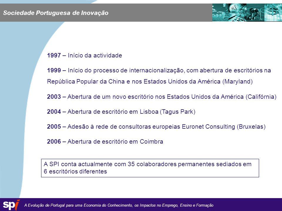 A Evolução de Portugal para uma Economia do Conhecimento, os Impactos no Emprego, Ensino e Formação 1,6/1,6 cm 1997 – Início da actividade 1999 – Início do processo de internacionalização, com abertura de escritórios na República Popular da China e nos Estados Unidos da América (Maryland) 2003 – Abertura de um novo escritório nos Estados Unidos da América (Califórnia) 2004 – Abertura de escritório em Lisboa (Tagus Park) 2005 – Adesão à rede de consultoras europeias Euronet Consulting (Bruxelas) 2006 – Abertura de escritório em Coimbra A SPI conta actualmente com 35 colaboradores permanentes sediados em 6 escritórios diferentes Sociedade Portuguesa de Inovação