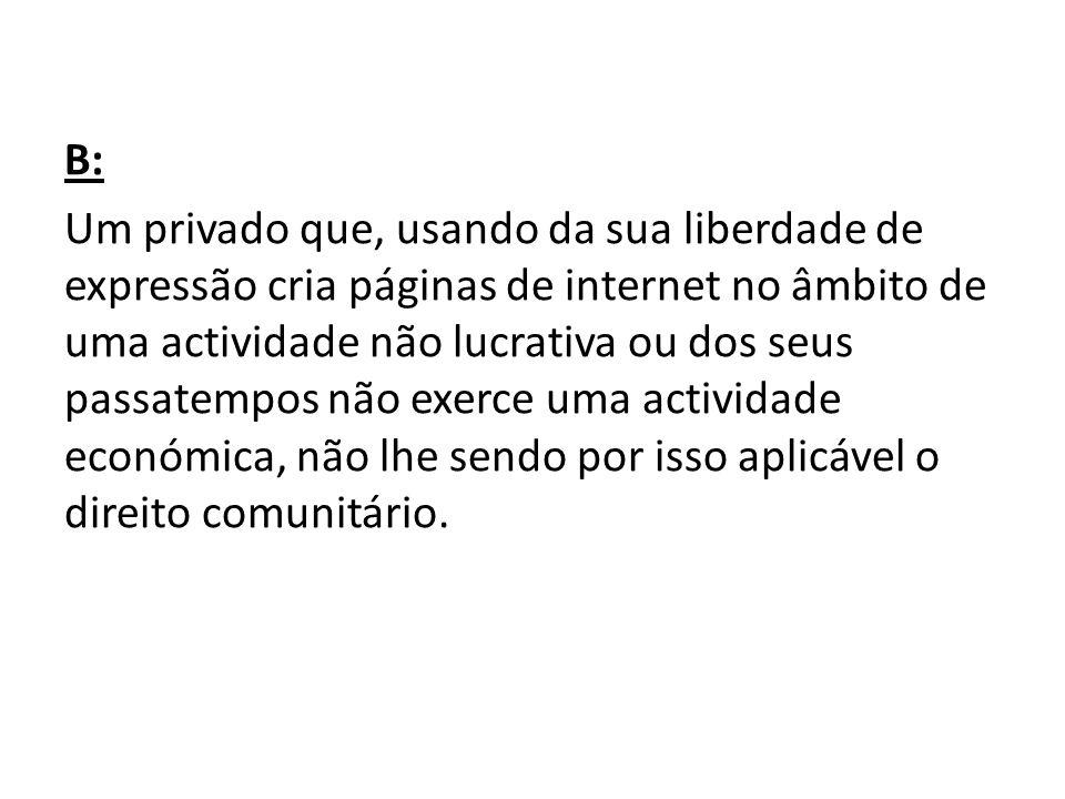 B: Um privado que, usando da sua liberdade de expressão cria páginas de internet no âmbito de uma actividade não lucrativa ou dos seus passatempos não exerce uma actividade económica, não lhe sendo por isso aplicável o direito comunitário.