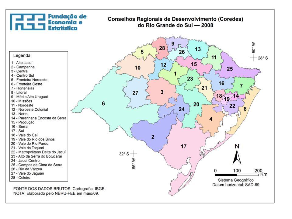 Dados geraisRegião IV COREDE FRONTEIRA NOROESTECOREDE MISSÕES HorizontinaSanta RosaTrês de MaioTuparendiSanto Ângelo Santo Antônio das Missões São Luiz Gonzaga São Miguel da Missões População Total (2011) 759.510 habitantes (100%) 18.409 habitantes (2,42%) 68.900 habitantes (9,07%) 23.736 habitantes (3,12%) 8.511 habitantes (1,12%) 76.401 habitantes (10,05%) 11.157 habitantes (1,46%) 34.520 habitantes (4,54%) 7.433 habitantes (0,97%) Área (2011) 27.444,9 km² (100%) 228,8 km² (0,83%) 489,8 km² (1,78%) 422,2 km² (1,54%) 307,7 km² (1,12%) 680,5 km² (2,48%) 1.714,2 km² (6,24%) 1.297,9 km² (4,73%) 1.229,8 km² (4,48%) PIBpm (2010) R$ 14.941.943 (100%) R$ 719.100 (4,81%) R$1.574.884 (10,54%) R$454.551 (3,04%) R$149.508 (1,%) R$1.264.801 (8,46%) R$ 185.880 (1,24%) R$ 549.028 (3,67%) R$ 204.850 (1,37%) Exportações Totais (2010) U$ FOB 862.455.976 (100%) U$ FOB 180.727.688 (20,96%) U$ FOB 141.912.864 (1,65%) U$ FOB 11.169.524 (1,30%) U$ FOB 7.050.512 (0,82%) U$ FOB 44.195.074 (5,12%) NÃO INFORMADO U$ FOB 27.678.950 (3,21%) NÃO INFORMADO PIB per capita (2010) R$ 19.517,25R$ 39.188R$22.959R$ 19.158R$ 17.472R$ 16.576R$ 16.582R$ 15.887R$ 27.604 Densidade Demográfica (2011) 31,2 hab/km²80,4 hab/km²140,7hab/km²56,2 hab/km²27,7 hab/km²112,3 hab/km²6,5 hab/km²26,6 hab/km²6,0 hab/km² Taxa de analfabetismo (2010) 5,92 %2,89%3,76%4,44%5,16%4,23%9,31%6,7%9,06% Expectativa de Vida ao Nascer (2000) 72,32 anos72,47 anos74,94 anos77,35 anos72,72 anos72,37 anos70,77 anos73,36 anos70,30 anos Coeficiente de Mortalidade Infantil (2010) 10,93 por mil nascidos vivos 10,05 por mil nascidos vivos 9,46 por mil nascidos vivos 32,37por mil nascidos vivos 28,57 por mil nascidos vivos 10,70 por mil nascidos vivos NÃO INFORMADO 16,63 por mil nascidos vivos 21,74 por mil nascidos vivos Fonte: http://www.fee.tche.br/sitefee/pt/content/capa/index.php COREDES FRONTEIRA NOROESTE, MISSÕES, NOROESTE COLONIAL E CELEIRO Dados Socioeconômicos e Estatísticos