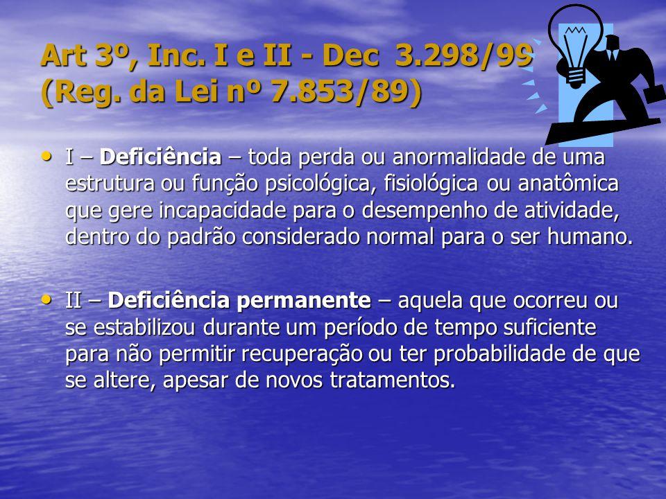 Art 3º, Inc.I e II - Dec 3.298/99 (Reg.